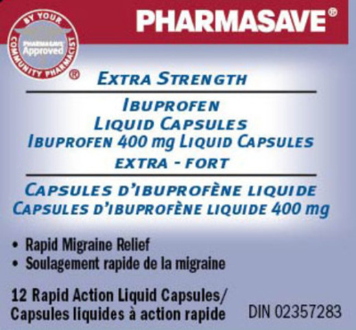 Pharmasave Extra Strength Ibuprofen Liquid Capsules, 12 count (CNW Group/Vita Health Products)