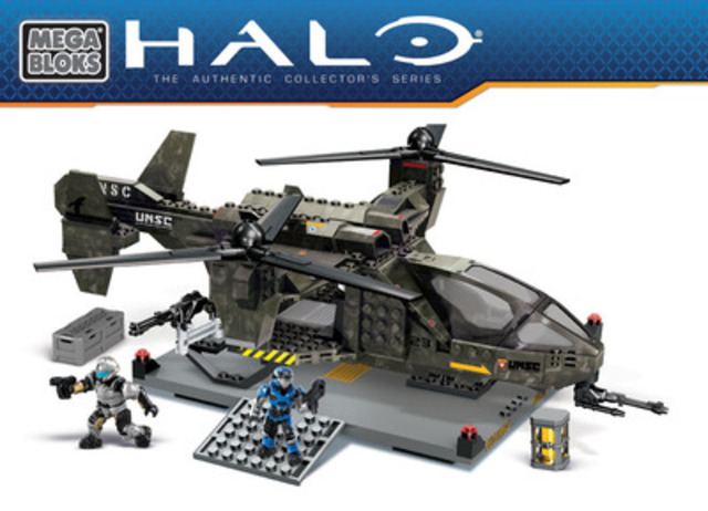 MEGA Brands announced today that it has extended its multi-year global agreement with Microsoft Game Studios to develop construction sets based on Halo, the video game franchise. Brand new Mega Bloks Halo construction sets, including this UNSC Falcon, will be launching this fall. (CNW Group/MEGA BRANDS INC.)