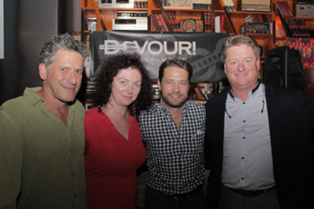 Celebs Jason Priestley and Bob Blumer (l) with Michael Howell (r) and Lia Rinaldo, organizers of Devour! The Food Film Fest, at the Drake Hotel last night during TIFF. The Nova Scotia pair launched their festival program with a menu of oysters and Nova 7. Visit devourfest.com for festival and ticket information. (CNW Group/Devour! The Food Film Fest)