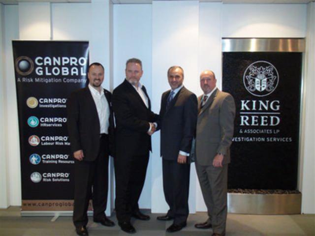 Toronto, June 1, 2011 - Announcement Photo: Ken Cahoon, Robert Burns, Nino Calabrese, Paul McParlan (CNW Group/Canpro Global Services Inc.)
