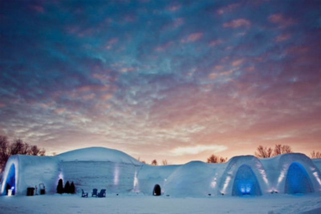 Snow Village Exterior at Dusk - The InterContinental Montreal forges an alliance with the Montreal Snow Village through the promotion of special packages that include one night stay at each property. The InterContinental Montreal's Executive Chef Matthieu Saunier will also oversee the culinary direction of the Snow Village's conference center and Pommery restaurant. Photo credit: Matthieu Bichat, Snow Village Canada. (CNW Group/INTERCONTINENTAL MONTREAL)