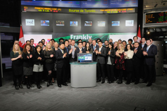 Steve Chung, CEO, Frankly Inc. (TLK) joined Tim Babcock, Director, Listed Issuer Services, TSX Venture Exchange to open the market. Frankly Inc. is a chat technology platform that brings conversation and direct consumer engagement to mobile app experiences. Frankly Inc. also offers Frankly Chat, a free, mobile messaging application for iOS and Android devices. The app is focused on user privacy by offering ephemeral messages and unsend capabilities. (CNW Group/TMX Group Limited)