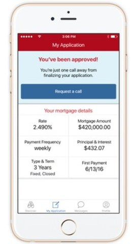 Receive approval for a mortgage with just a few taps of a smartphone with the CIBC Hello Home™ app (CNW Group/CIBC)
