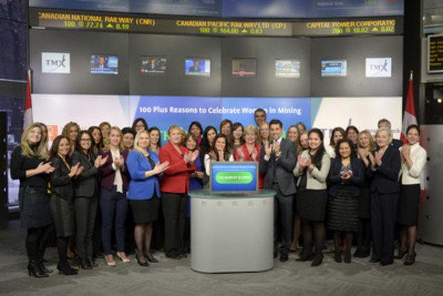 Elena Mayer, President & Founder, Women Who Rock, joined Nick Thadaney, President and Chief Executive Officer, Global Equity Capital Markets, TMX Group to open the market. In celebration of International Women's Day, Women in Mining Canada, in partnership with Women in Mining UK (WIM UK), PDAC and Women Who Rock, will host a networking reception – 100 Plus Reasons to Celebrate Women in Mining on Tuesday, March 8th, 2016 at the Metro Convention Centre. The event will highlight 100 women in mining who were recognized this year by WIM UK in the 100 Global Inspirational Women in Mining project. The Women Who Rock (WWR) organization aims to support women through education, social and professional networking and foster a sense of community as they embark on and advance their careers in the mining industry. (CNW Group/TMX Group Limited)