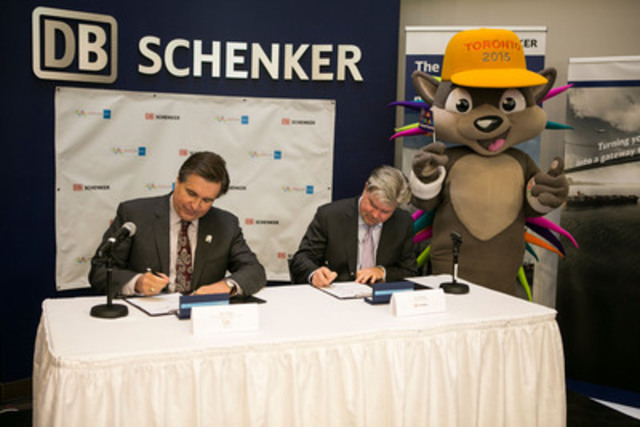 Schenker of Canada Limited Named Official Logistics Supplier of TORONTO 2015 Pan Am/Parapan Am Games, December 9, 2013 in Mississauga (left to right) Ian Troop, chief executive officer of TO2015, Eric Dewey, chief executive officer of Schenker of Canada Limited and PACHI. (CNW Group/Toronto 2015 Pan/Parapan American Games)