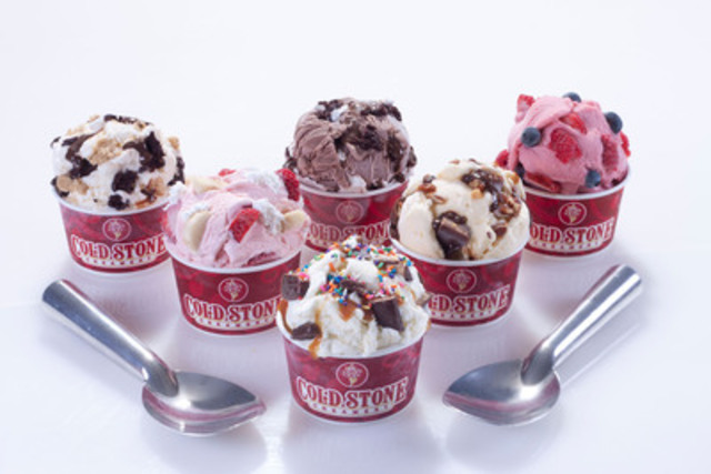 Cold Stone Creamery is honouring National Ice Cream Day with the introduction of six new signature ice cream creations. With names like The Cold Stone Cooler and Love at First Bite, these creations were developed based on some of Canadians' top ice cream eating occasions. (CNW Group/Cold Stone Creamery)