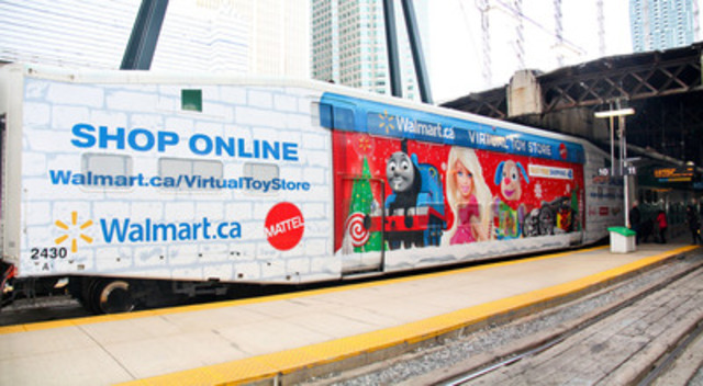 Beginning November 4, 2013, Mattel and Walmart are partnering with GO Transit to provide time crunched commuters with Virtual Toy Stores on the GO making it easier than ever to get holiday shopping done (CNW Group/Mattel Canada, Inc.)