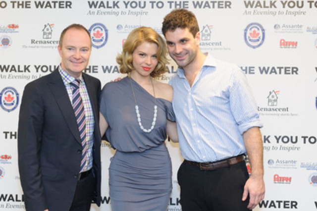 Dr. Patrick Smith, Bomb Girls Ali Liebert and Canadian Idol Finalist Oliver Pigott at WALK YOU TO THE WATER: An Evening to Inspire a benefit in support of Renascent Foundation. (CNW Group/Renascent)