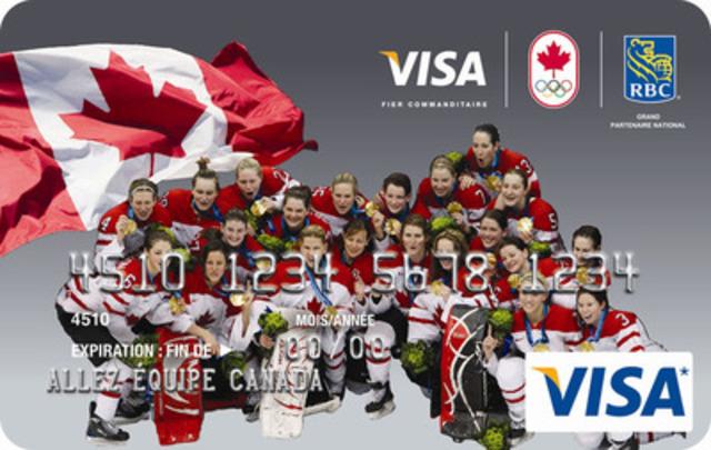 Carte-cadeau Visa RBC Équipe Canada mettant en vedette l'équipe de hockey féminin médaillée d'or aux Jeux olympiques de 2010 (Groupe CNW/RBC (French))