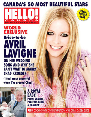 Bride-to-be Avril Lavigne is on the cover of HELLO! Canada's 50 Most Beautiful issue 2013, which hits newsstands today. (CNW Group/HELLO!)