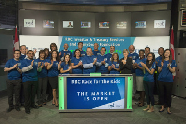 James Rausch, Head of Global Client Coverage, Canada, RBC Investor & Treasury Services, joined Eleanor Fritz, Director, Compliance and Disclosure, Toronto Stock Exchange, to open the market to celebrate RBC Race for the Kids. In its fourth year, RBC Race for the Kids supports youth mental health through the Family Navigation Project at Sunnybrook Hospital. Last year, over 5,800 RBC employees, friends and families helped raise more than $2 million for the Sunnybrook Foundation. This year's race is set to occur on Saturday, September 17th starting at Mel Lastman Square. RBC Investor & Treasury Services is a specialist provider of asset services, custody, payments and treasury services for financial and other institutional investors worldwide. (CNW Group/TMX Group Limited)