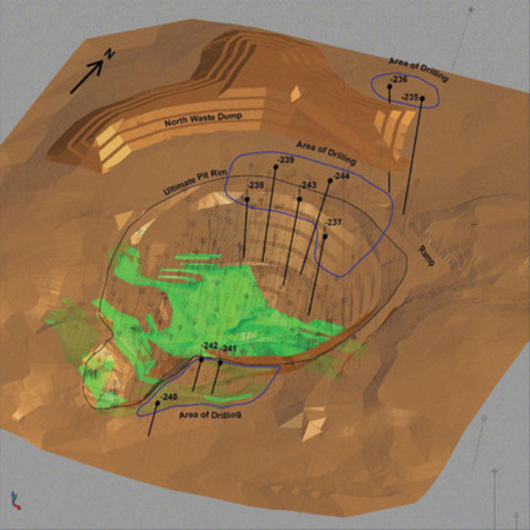 Exhibit A: A 3d view of the ultimate Pine Cove pit viewed from approximately 45 degrees above the horizon towards the Northwest, showing the location of drill holes described within this release.  Mineralized zones are shown as green.  Previous diamond drill hole traces are shown as black lines with circles illustrating collar locations.  A transparency is applied to the surrounding topography to glimpse the ore below the topographic surface, outside of the current pit design. (CNW Group/Anaconda Mining Inc.)
