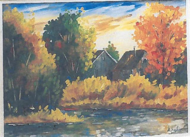 Huile sur toile de Gaétan Gauthier intitulée Rivière derrière la maison, 24 X 30 pouces. (Groupe CNW/Sûreté du Québec)
