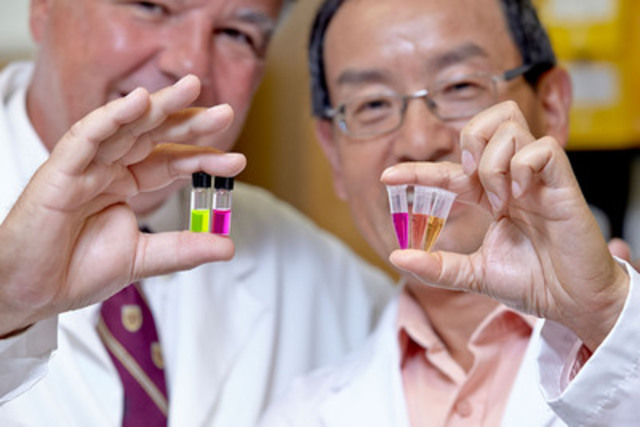 Canadian Cancer Society grant recipients Dr. Bruno Salena (left) and Dr. Yingfu Li are looking for a new way to detect colorectal cancer with glowing enzymes. (CNW Group/Canadian Cancer Society (National Office))