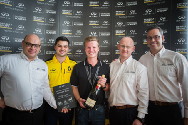 21-year-old McGill University student Felix Lamy awarded a one-year placement with INFINITI Motor Company and the Renault Sport Formula One™ Team. From left-to-right: Jan Cantryn, Global Motorsport Technical Manager at Infiniti Motor Company Ltd.; Ralph Koyess, Vehicle Performance Engineer with Renault Sport Formula OneTM Team (Montreal native); 2016 IEA Canadian winner, Felix Lamy; Andy Todd, Director of Body & Exterior Engineering, Infiniti Technical Centre Europe; and Stephen Lester, Managing Director of Infiniti Canada. (CNW Group/Infiniti)