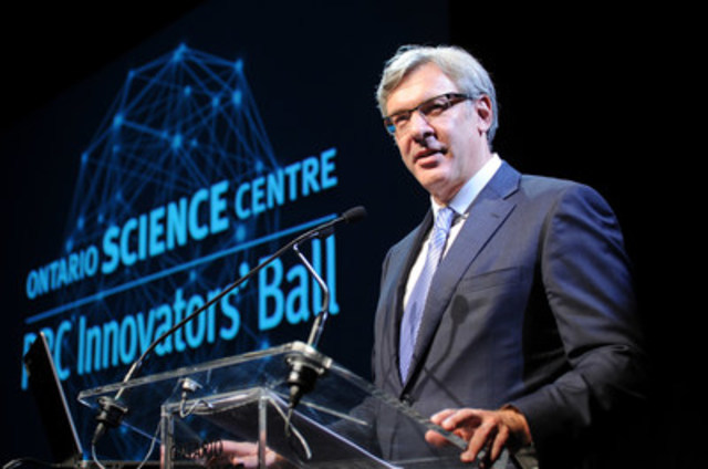 Dave McKay, President and Chief Executive Office, Royal Bank of Canada address guests at the RBC Innovators Ball, the Ontario Science Centre's signature fundraiser for community access programs. (photo credit: George Pimental Photography) (CNW Group/Ontario Science Centre)