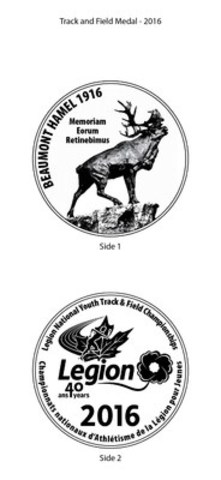 Legion Unveils New Medals for National Youth Track and Field Championships (CNW Group/The Royal Canadian Legion Dominion Command)