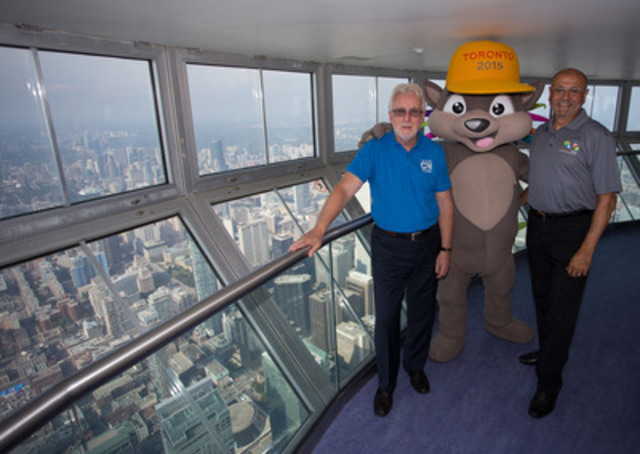 TORONTO 2015 mascot PACHI joined TO2015 Chief Executive Officer Saäd Rafi and CN Tower Chief Operating Officer Jack Robinson at the iconic Toronto landmark. The 553.33-metre-high CN Tower was recently named Official Attraction of the Games. (CNW Group/Toronto 2015 Pan/Parapan American Games)