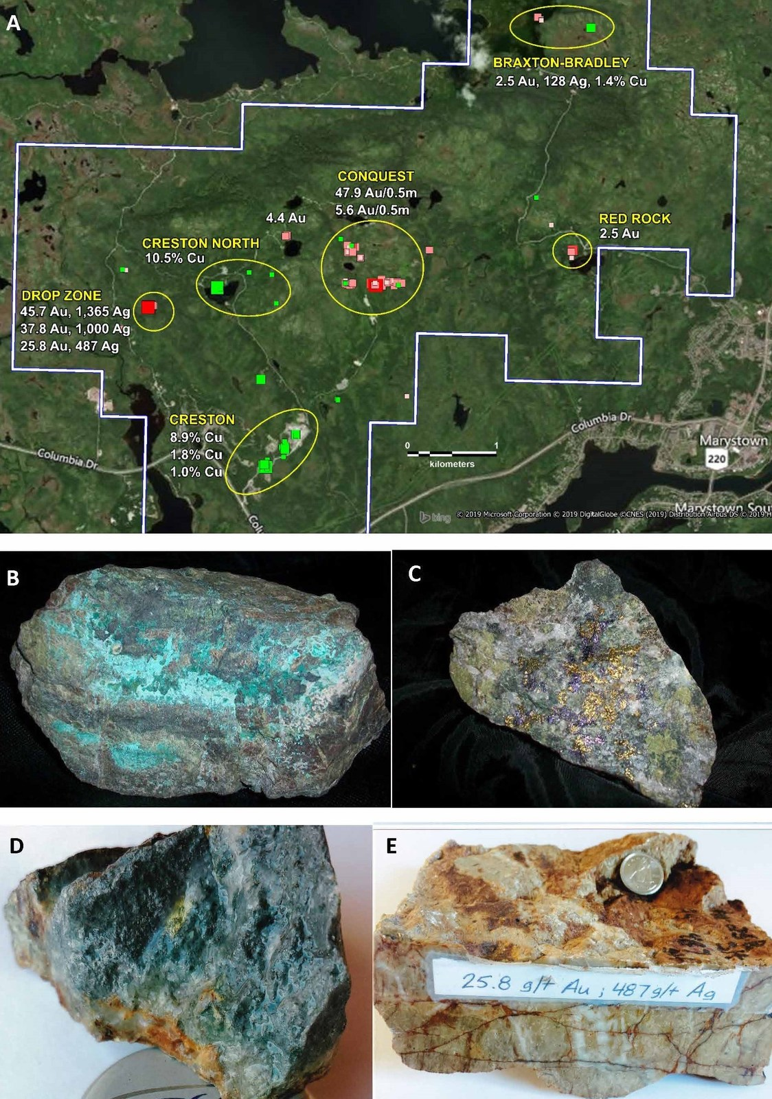 A) Map Showing the 5 gold and 2 copper occurrences at Root & Cellar. B) Malachite and copper sulphides from Creston North. C) Bornite and Chalcopyrite from Creston. D) Visible gold from Conquest Zone. E) High grade gold and silver from Drop Zone.