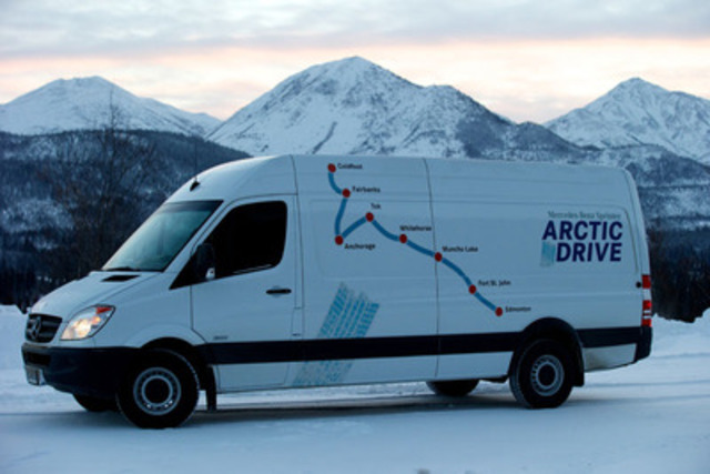 The Sprinter Arctic Drive allowed automotive journalists from across Canada and the United States to drive the Mercedes-Benz Sprinter vans through some of the most picturesque locations on this continent, while also testing the vehicle under some of the harshest and most severe weather conditions on the planet. (CNW Group/Mercedes-Benz Canada Inc.)