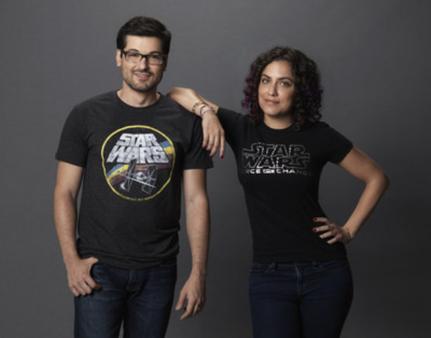 Star Wars fans and Internet personalities Andi Gutierrez (right) and Anthony Carboni (left) prepare to give the world a sneak peek at the new Star Wars: The Force Awakens products in the first-ever global live toy unboxing, which they will host from YouTube Space Los Angeles Sept. 2-3, 2015. The epic live steam event will kick off at 7:45 a.m. NSW in Sydney, Australia on Sept. 3 and will roll around the world leading to 'Force Friday' on Sept. 4, 2015, when merchandise from the new film will be available at retailers. Maker Studios talent will unbox new products live from 15 cities during the 18-hour YouTube event. Tune in at   YouTube.com/StarWars beginning at 5:30 p.m. EDT, Sept. 2. (Photo credit: Kevin Lynch for Disney Consumer Products) (CNW Group/Disney Consumer Products)
