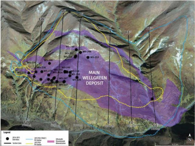 Wellgreen drill hole locations (CNW Group/Wellgreen Platinum Ltd.)
