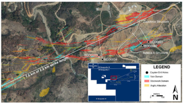 Figure 1 - Azteca Drill Map (CNW Group/Cayden Resources Inc.)