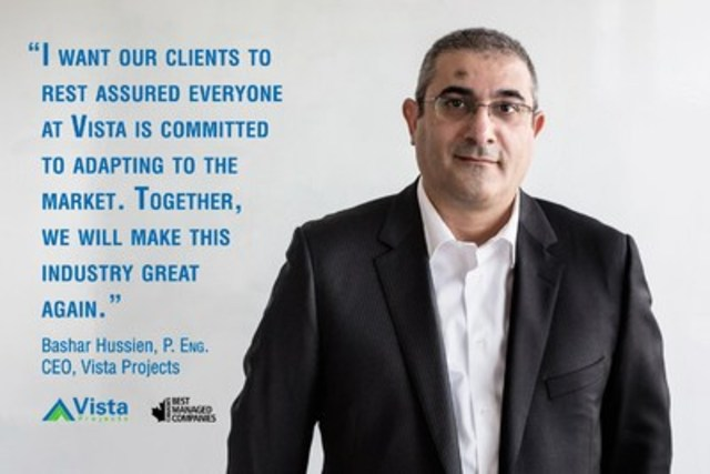 CEO Bashar Hussien believes Vista Projects' ongoing recognition as one of Canada's Best Managed Companies is a validation of the company's commitment to helping energy clients adapt to current market conditions with innovative solutions. (CNW Group/Vista Projects Limited)