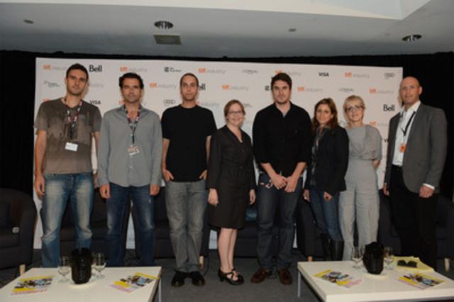 (De gauche à droite) les réalisateurs Igor Drljaca (Krivina); Jason Buxton (Blackbird); Brandon Cronenberg (Antiviral); Kate Melville (Picture Day); Kazik Radwanski (Tower); la modératrice Katherine Monk, Postmedia News; Carolle Brabant, Téléfilm Canada; et Andrew McIntosh, Festival international du film de Toronto (Groupe CNW/TELEFILM CANADA)