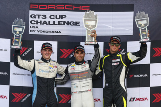 In the fifth race of the series, on July 1, 2016, Daniel Morad (centre) topped the podium in the No. 17 Porsche Centre Oakville/Alegra Motorsports Porsche, narrowly beating Scott Hargrove (left) in the No. 28 OpenRoad Racing Porsche and Zach Robichon (right), who finished third in the No. 78 Mark Motors Racing Porsche. (CNW Group/Porsche Cars Canada)