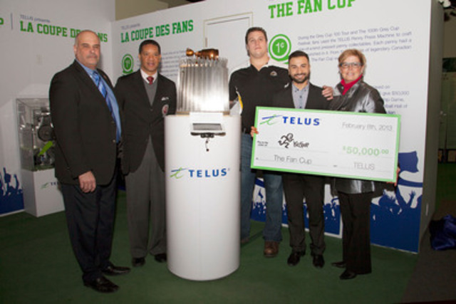 To honour the 100th Grey Cup, TELUS' Nick Peragine presents a cheque for $50,000 to KidSport Ontario's Dawn MacDonald in Hamilton, ON at the Canadian Football Hall of Fame (CFHOF) induction of the first ever Fan Cup presented by TELUS. (CNW Group/TELUS Corporation)