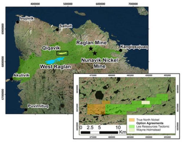Figure 2 – (a) Localisation de la propriété Qiqavik dans la ceinture de Cape Smith, Nord-du-Québec; (b) Ententes d'option pour la propriété Qiqavik. (Groupe CNW/Corporation Royal Nickel)