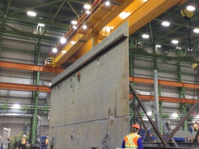 Centre section component of 1st AOPS ship underway at Halifax Shipyard (CNW Group/J.D. Irving, Limited)