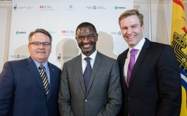 (From left to right): The Honourable Victor Boudreau, Minister of Health, New Brunswick; Mr. Chirfi Guindo, President and Managing Director, Merck Canada Inc.; and the Honourable Brian Gallant,  Premier of New Brunswick. (CNW Group/Merck Canada Inc.)