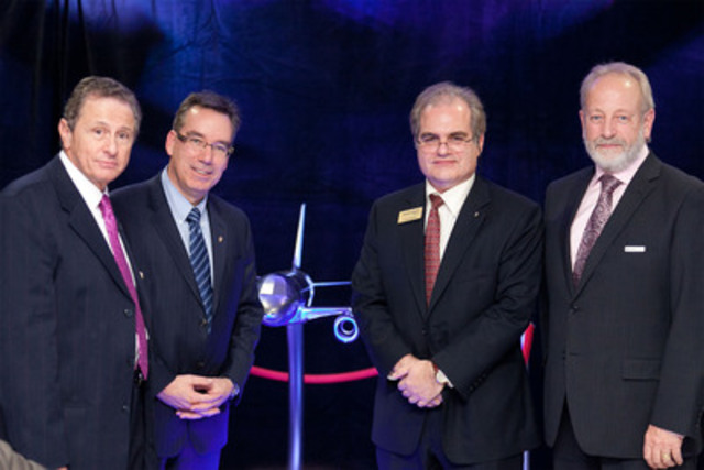 From left to right : Hany Moustapha, Director, AÉROÉTS, ÉTS; Yves Beauchamp, CEO, ÉTS; John Maris, President, Marinvent Corporation; Jean-Paul LeMarquis, Dean, Bombardier Engineering University, Bombardier Aerospace. (CNW Group/ECOLE DE TECHNOLOGIE SUPERIEURE, UNIVERSITE DU QUEBEC)