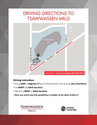 Driving Directions to Tsawwassen Mills (CNW Group/Ivanhoé Cambridge)
