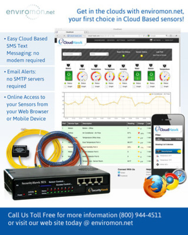 Leading Canadian Environmental monitoring company releases first cloud-based monitoring service with easy-to-use text messaging and email alerting systems. Online access to sensor data from any web browser or mobile device. Visit our website @ http://www.enviromon.net to learn more. (CNW Group/Netmon Inc.)