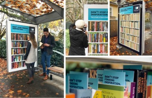 "Royal Roads University's ""Don't Stop"" campaign transforms a transit stop into a free community bookshelf, surprising Vancouver commuters with an encouraging message: ""Don't stop finding inspiration. Take a book or leave a book. Or both.""  The innovative out-of-home media execution illustrates the campaign's key focus: learning how to be a life-learner — and then not stopping — is crucial for career and life success. (CNW Group/Royal Roads University)"