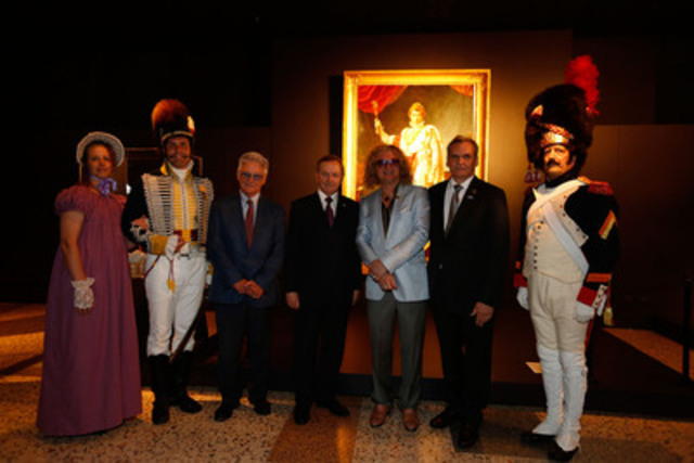 From left to right : two actors, Gilles Proulx, the Hon. Serge Joyal, Senator and author of ?Le mythe de Napoléon au Canada français?, Pierre-Jean Chalençon, owner of the Chalençon Collection in Paris, Yoland Tremblay, executive director of the Fabrique de la paroisse Notre-Dame de Montréal and an actor (CNW Group/Treasures of Napoléon - The exhibition)