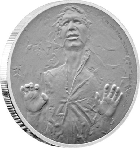 This stunning official pure silver Star Wars coin shows Han Solo frozen in carbonite from the 1980 release of Star Wars: The Empire Strikes Back. (CNW Group/Canadian Imperial Bank of Commerce)