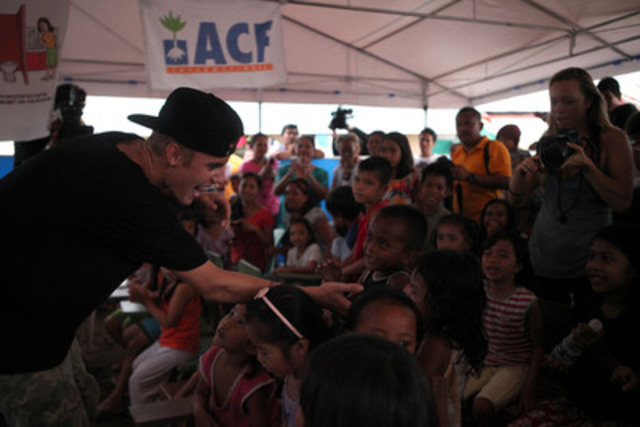 Justin Bieber Makes Surprise Visit to Philippines Typhoon Victims (Photo Credit: Rosa May Maitem/ACF International) (CNW Group/Action Against Hunger (AAH))