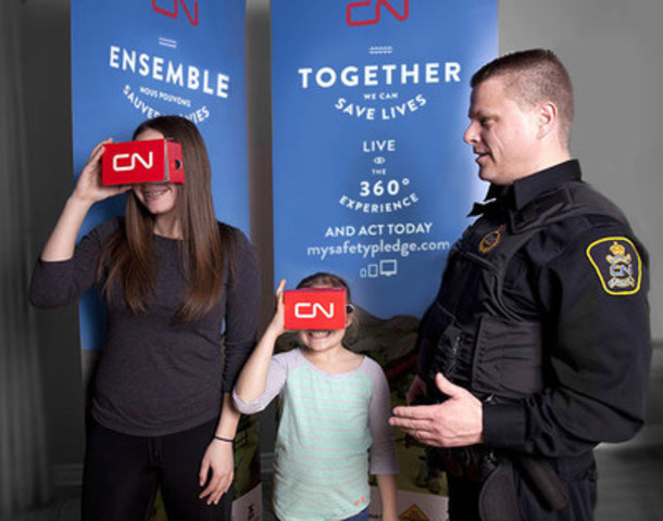 CN Police officers will have custom Google Cardboard viewers to demonstrate the 360° rail safety videos throughout Rail Safety Week. (CNW Group/CN)