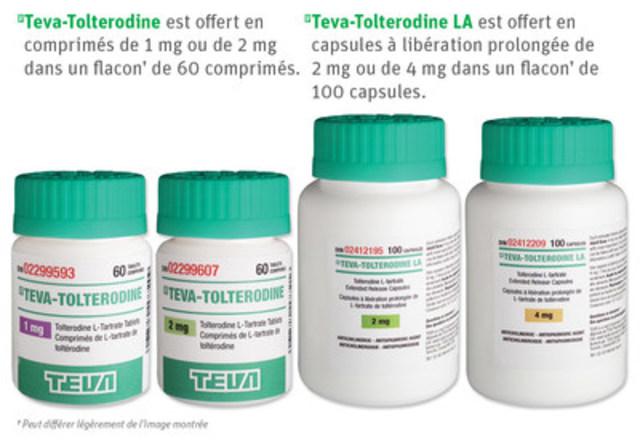 Teva-Tolterodine est offert en comprimés de 1 mg ou de 2 mg dans un flacon† de 60 comprimés. Teva-Tolterodine LA est offert en capsules à libération prolongée de 2 mg ou de 4 mg dans un flacon† de 100 capsules. †Peut différer légèrement de l'image montrée (Groupe CNW/Teva Canada Limitée)