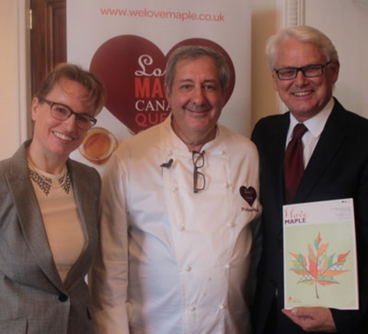 Geneviève C. Béland, Director of Promotion, Innovation and Market Development at the Federation of Quebec Maple Syrup Producers - Philippe Mollé, chef and food columnist - Gordon Campbell, Canada''s High Commissioner to the United Kingdom  (CNW Group/Federation of Quebec Maple Syrup Producers)