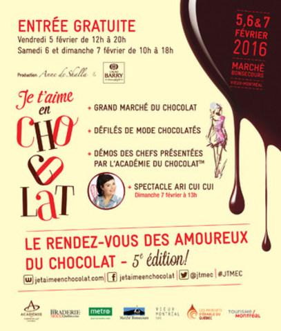 Je t'aime en chocolat - 5ème édition – Du 5 au 7 février 2016 (Groupe CNW/Je t'aime en chocolat)