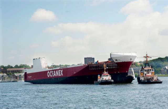 The Oceanex Connaigra, in the Flensburg port, following its launch from the Flensburger Shipyard. (CNW Group/OCEANEX INC.)