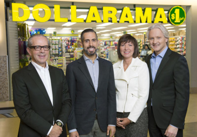 Members of Dollarama's executive management team, from left to right: Larry Rossy, Neil Rossy, Johanne Choinière (Chief Operating Officer) and Michael Ross (Chief Financial Officer). (CNW Group/Dollarama Inc.)