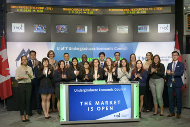 Nicole Skaf, President, Undergraduate Economic Council (UEC), University of Toronto joined Monika Marcziova, Senior Account Manager, Equities Trading, TMX Group to open the market. UEC is a student run organization which supports current and prospective students enrolled in economic and finance-based programs. UEC organizes events and workshops to prepare students for careers, foster professional development and build a sense of community. For more information, please visit ulife.utoronto.ca/organizations/view/id/1782 (CNW Group/TMX Group Limited)