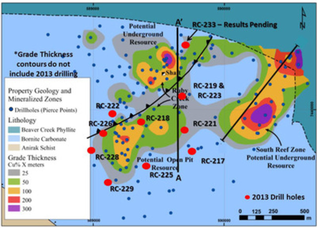Figure 1: Bornite Open Pit Drill Hole Location and Grade x Thickness Map for Drill Holes Containing Near-Surface Mineralization (CNW Group/NovaCopper Inc.)