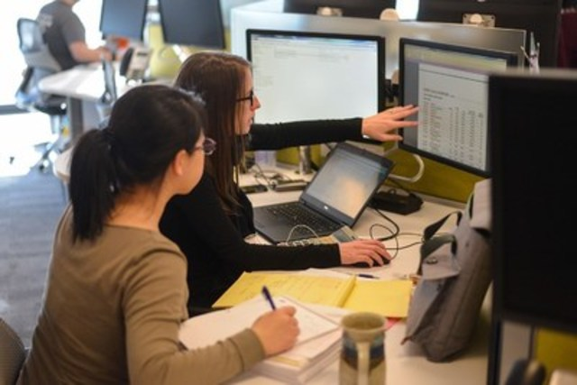 Instead of traditional, enclosed offices, employees work collectively, side-by-side in open-concept environments, regardless of position. This environment fosters engagement, inclusiveness and strong teaming. (CNW Group/EY (Ernst & Young))